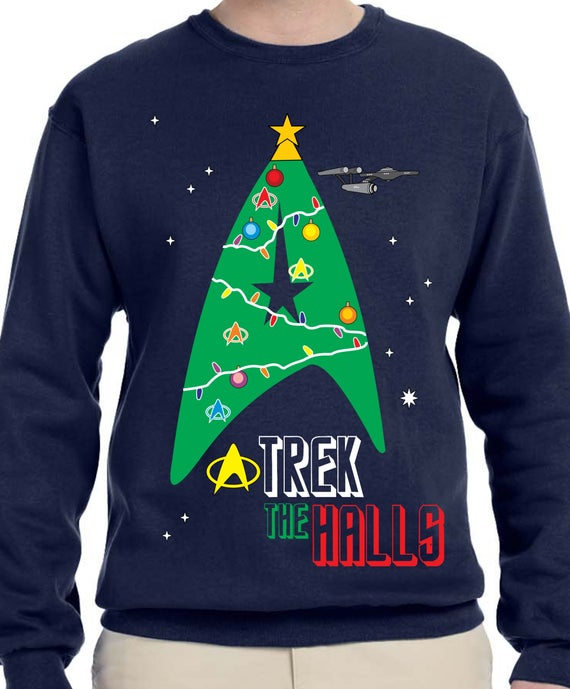 Trek The Halls Sweater Star Trek Sweater Merry Trekmas