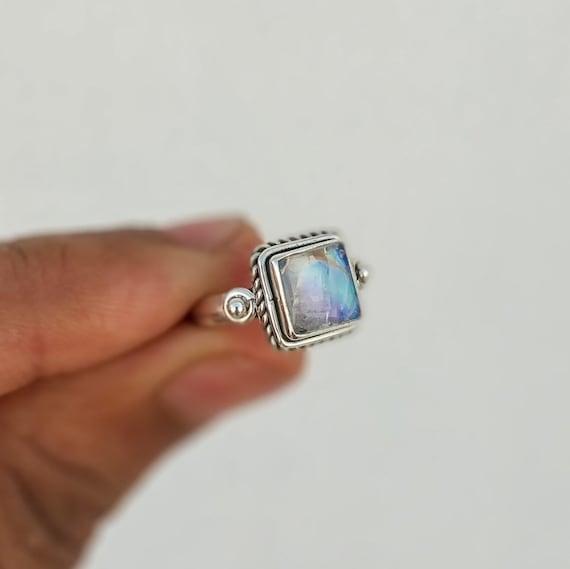Regenbogen Mondstein Ring, 925 solid Sterling Silber Ring, Silber Mondstein Ring, Edelstein Ring, Silber Ring, Mondstein Ring, große Stein Ring