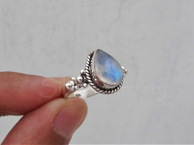 Rainbow moonstone ring 92.5% sterling silver ring silver image 0