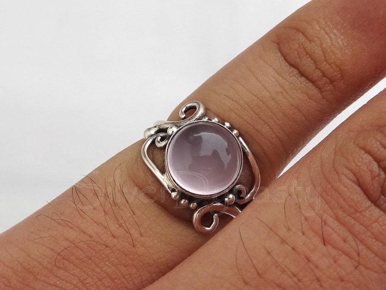 silver Rose Quartz ring,sterling silver ring, Rose Quartz ring,92.5/% sterling silver ring all sizes available