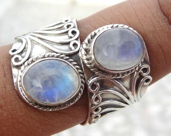 Rainbow Moonstone Ring, 925 Solid Sterling Silver Ring, Oval Moonstone Ring, Boho Ring, Blue Fire Moonstone Ring, Moonstone Ring