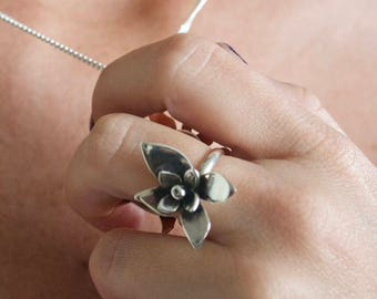 Silver Floral Ring, Silver Blossom Ring, Floral ring, silver ring, sweet gift, spring ring, girlfriend gift