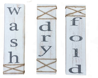 Laundry Room Sign, Hand painted. Wash, Dry, Fold, Laundry Room Decor, White and gray Laundry Room Sign, laundry room wall decor