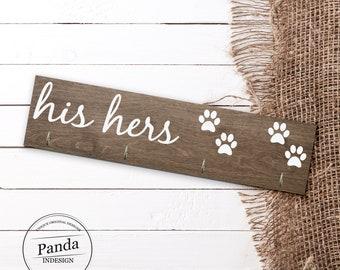 Custom His hers dog, Key hanger, key holder, leash holder, Entryway decor, Entryway organizer, Entryway Key Holder, dog leash holder