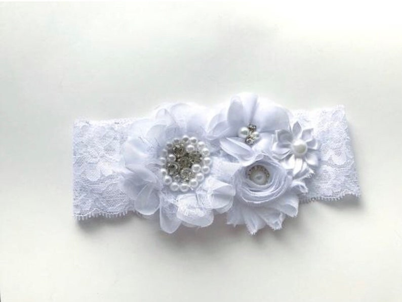 White baptism headband  all white baby headband  flower girl image 0