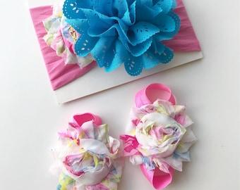 Spring nylon headband - bright colors nylon headband - baby girl summer nylon headband - floral nylon headband - baby shower gift set