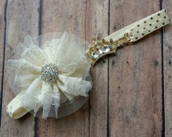 Baby Crown headband - crown headband - baby headband - girl headband - birthday headband - gold headband- baby shower gift -newborn headband