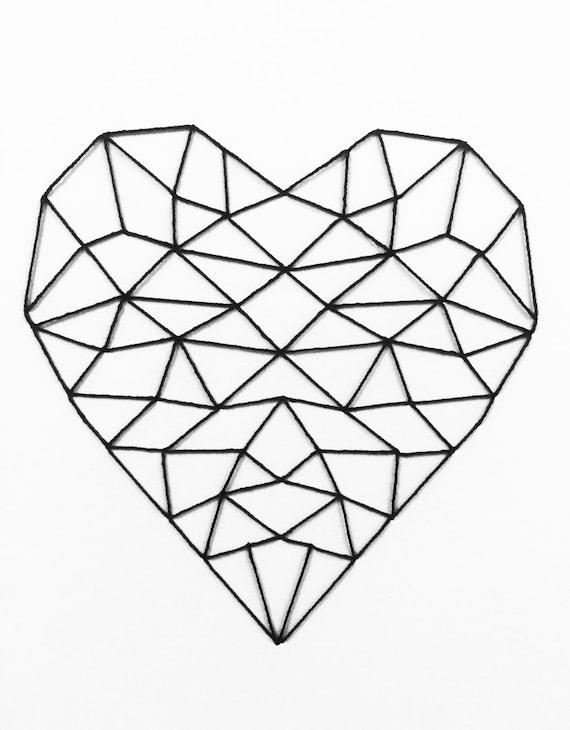 Geometric Gem Wall Art Set Of 3hand Embroidered Modern
