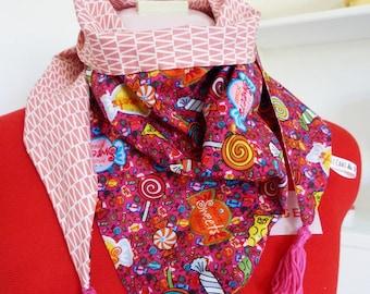 Triangle tassel scarf pattern children, candy pink