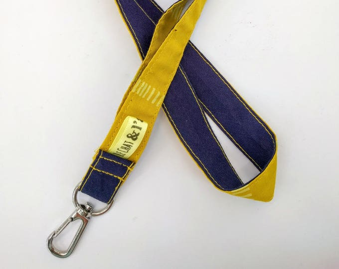 Lanyard Keychain, Navy Blue and yellow