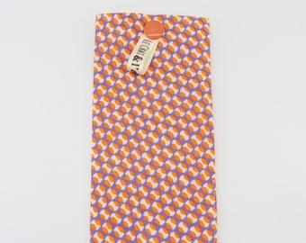 Storage case / orange, white and purple dots