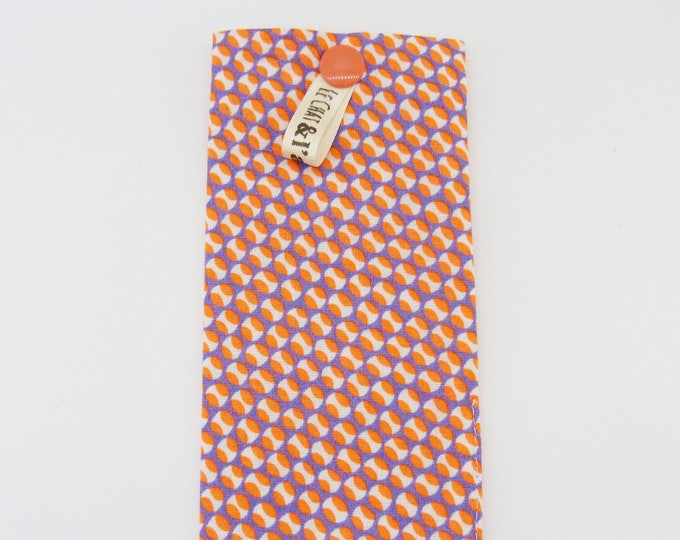 Storage case / orange, white and purple dots