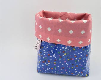 Basket / tidy fabric (blue and multicolor)