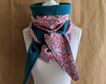 Cotton triangle scarf, Liberty Strawberry Thief C