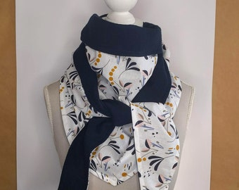 Triangle scarf, flowers and Navy