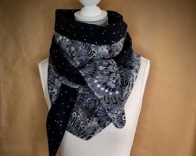 Cotton triangle scarf, gray eben liberty