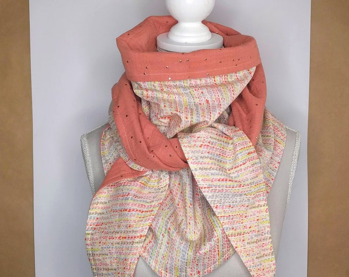 Dotted gold and multicoloured Liberty cotton triangle scarf