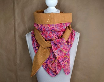 Cotton triangle scarf, Liberty Eben pink
