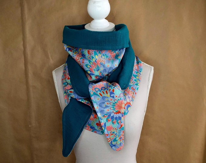 Cotton triangle scarf, eben liberty light pink