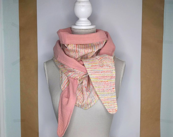 Dotted pink and multicoloured Liberty cotton triangle scarf