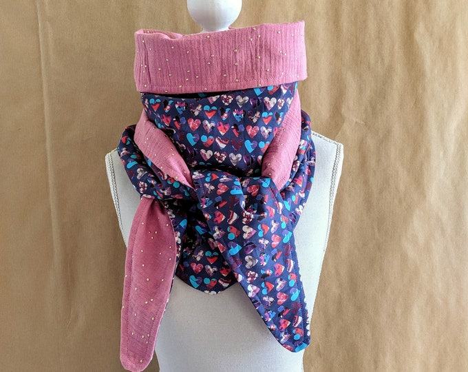 Cotton triangle scarf, Liberty Marble Hearts B
