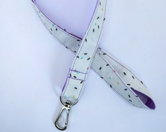 Key ring, lilac and multicolor vermicelli