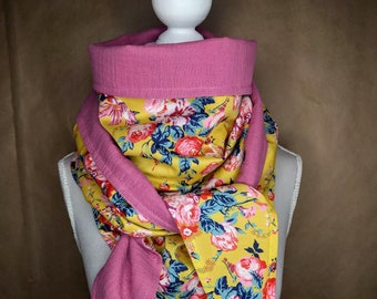 Cotton, Liberty Magical Bouquet yellow triangle scarf