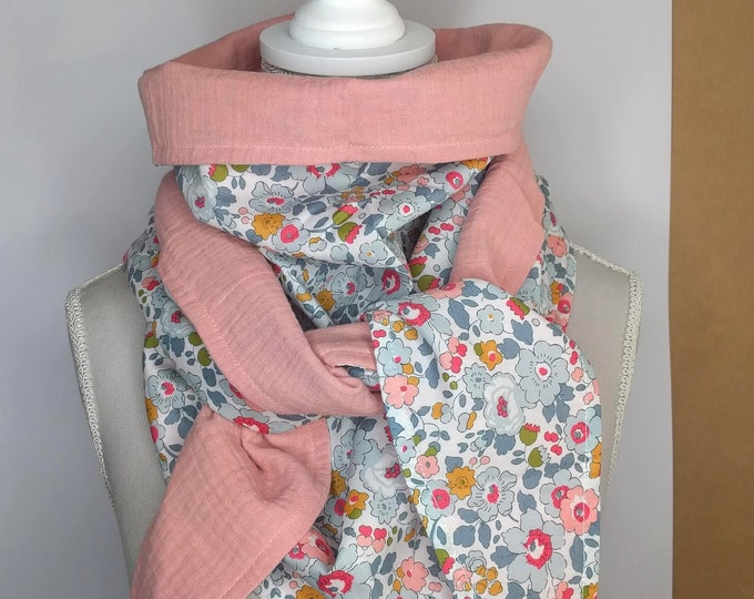 Porcelain Liberty cotton triangle scarf and pink