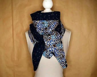 Triangle cotton scarf, liberty Moonlight