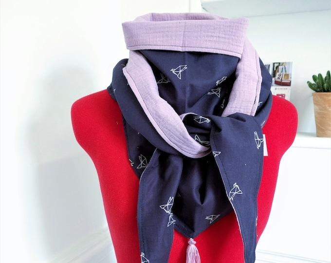 Pom poms, birdies origami triangle scarf