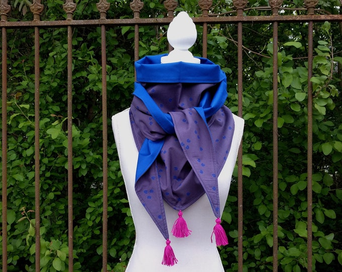 Tassels, blue triangle scarf