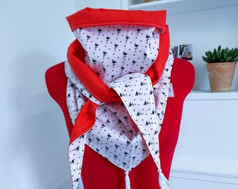 Triangle scarf, coral and blue flaminis