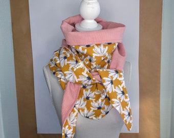 Headscarf triangle, flowers in mustard