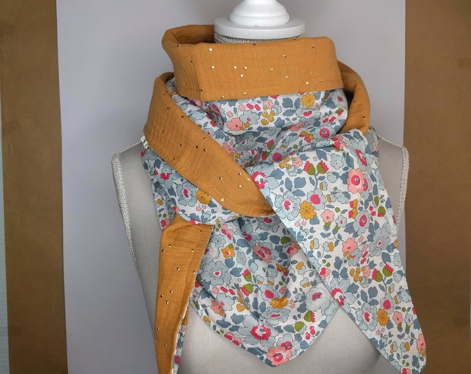 Porcelain Liberty cotton triangle scarf and yellow