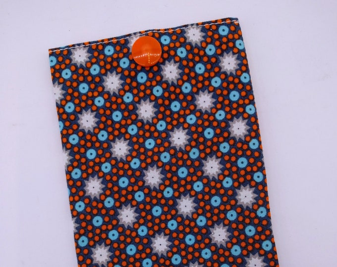 Storage case / blue and orange polka dots and stars