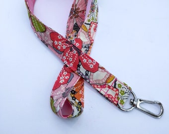 Cord key chain, floral and pink liberty