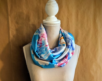 Silk Snood, Blue Dahlias