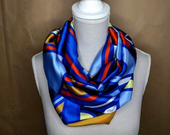 Silk snood, blue