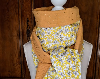 Cotton triangle scarf, liberty Dynasty Gold