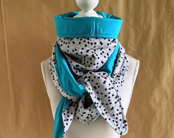 Black polka dots and turquoise sweatshirt triangle scarf