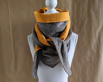 Triangle scarf mini tweed safari