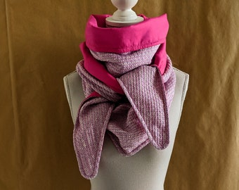 Satin pink mini tweed triangle scarf