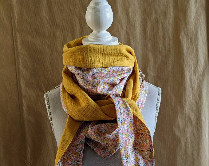 Cotton triangle scarf, Liberty Wiltshire aurora bud