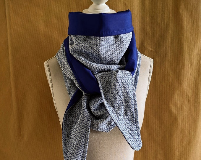 Blue mini tweed triangle scarf and sequins