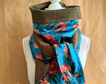 Cotton triangle scarf, Liberty Decadent Blooms B