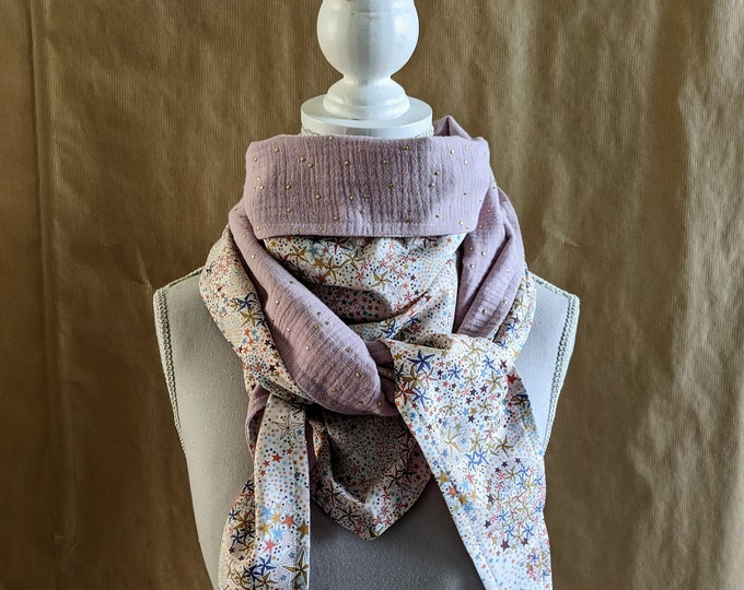 Cotton triangle scarf, Liberty Adelajda pink