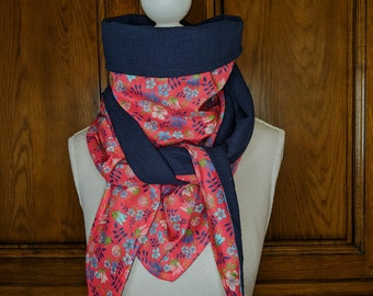 Cotton triangle scarf, Liberty Edenham red