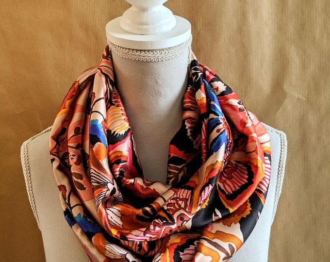 Silk snood, orange flowers