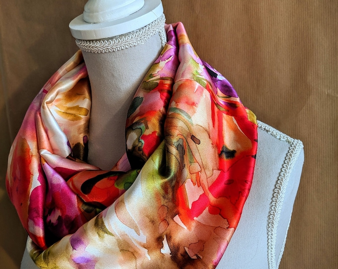 Silk Snood, Pink Watercolor