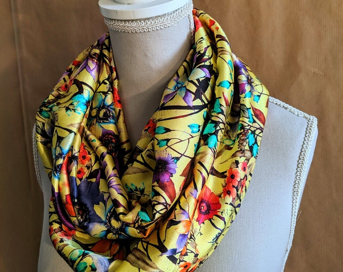 Silk Snood, Yellow Flowers